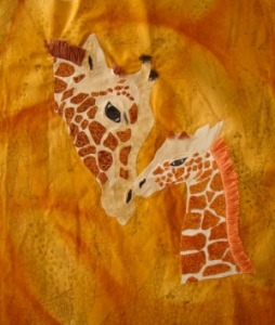 Julie's giraffe with hand embellished manes.